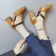 2017 new spring shallow mouth shoes with thick retro square Baotou nightclub high-heeled Mary Jane shoes word buckle