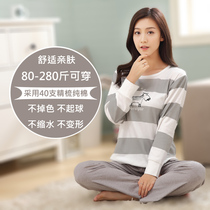 Autumn and winter plus fertilizer code pajamas women long-sleeved cotton fat MM large home service 4XL suits 200 pounds