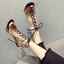 High-heeled Shoe Woman New Summer 2019 Net Red Fine-heeled Sexy Fairy Wind with Transparent Roman French Black Sandals