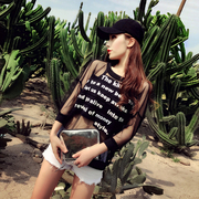 The rabbit pocket 2017 summer new European black letters patch loose sweater stitching on women