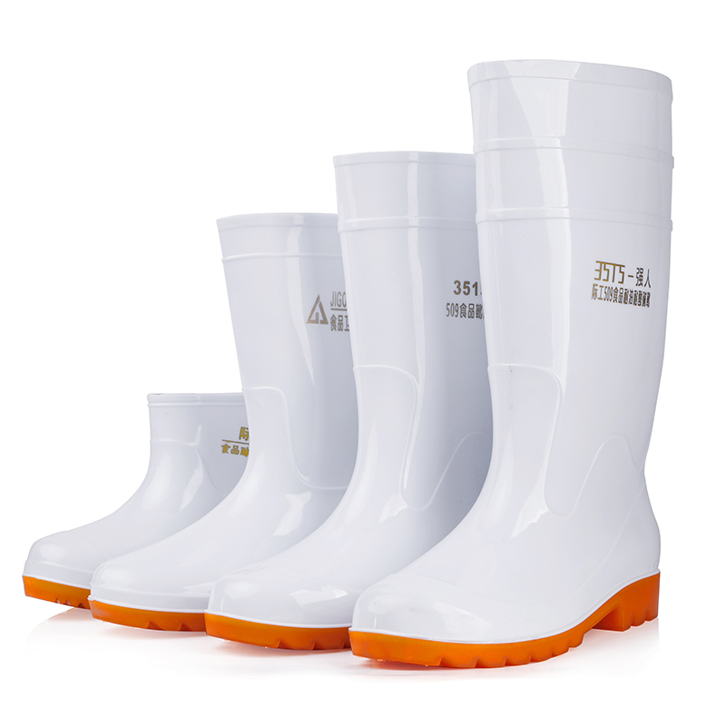 Large White Rainshoe Food Factory Working Rainshoe Anti-skid Food Sanitary Boots Oil-proof and Acid-alkali-proof Chef's Water Shoes