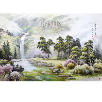 Korean traditional painting 1 2 m Jiang Xiaoying level waterfall spring living room decoration painting splendid mountain kx89