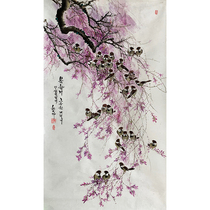 Korean Chinese Painting Wu Xianger Spring Breeze Blowing Willow Hand-painted Wisteria flowers and birds Vertical painting Zhongtang Chinese painting Entryway living room