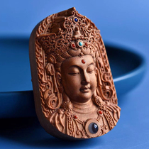 Guan Zai Bodhisattva Laoshan sandalwood pure hand-carved four six-card pendant listing hand-held pieces choose one of two