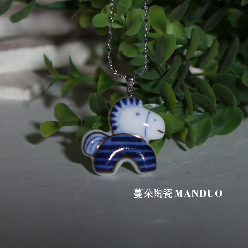 Jingdezhen hand-painted blue and white porcelain pony pendant China pony Pendant Jewelry China pony pendant Pendant