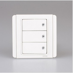 Qisheng E3000 white + Bai Schneider Qisheng switch socket genuine three-open single-control switch panel