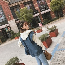 Fake two coat jacket women spring tide mosaic loose denim vest sweater School of Korean Air Joker even