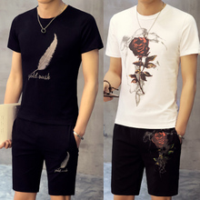 Men's summer sports leisure suit summer clothes fashion T-shirt thin short sleeved male Korean cultivating students
