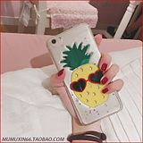 Japan and South Korea sequins three-dimensional fresh summer fruit pineapple mirror r9s phone shell oppor9 / plus transparent soft shell