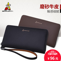 Scarecrow handbag men casual cowhide purse long wallet men zipper clutch bag small men bag holding tide