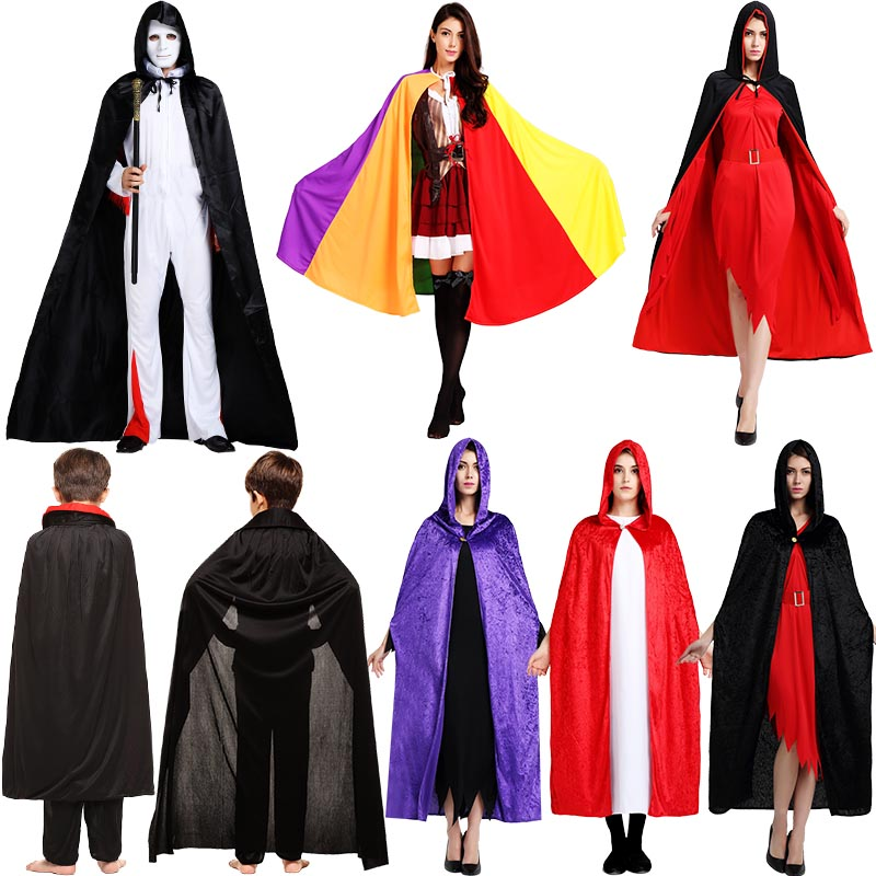 Cosplay Clothes,Halloween Clothes,Halloween Costume Adult Child Red Black Cape Man and Woman Witch Cloak Death Vampire Cosplay