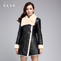 Xiongyoudigong 2016 winter new grass slim lamb fur leather fur women long coat