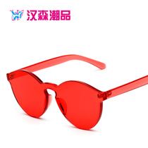 The new frameless fashion candy colored jelly sunglasses eyewear personality trend glasses sunglasses