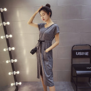 2017 summer new Korean fashion dress hem slit V collar - up grey dress female
