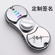 Fingertip gyro rechargeable lighter electronic creative colorful lamp lighter personality man sent her adult decompression