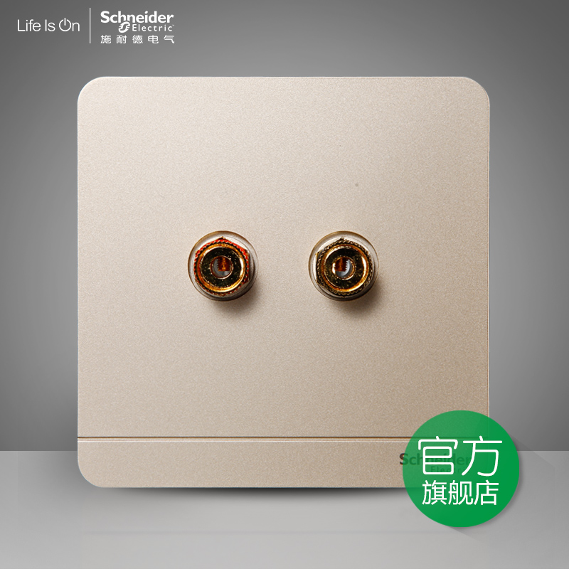 Schneider Electric Switch Socket Single Two-hole Audio Socket Speaker Low-voltage Panel 绎尚薄暮金