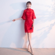 Toast the bride cheongsam 2017 new summer red fashion short female Chinese style wedding dress