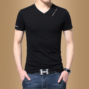 Men's short sleeved T-shirt V collar pure white half sleeved summer clothes on the Korean fashion trend