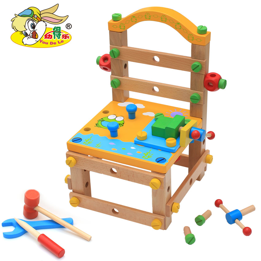 YOUDELE MULTI-FUNCTIONAL TOOL, SEARCH, REMOVING AND ASSEMBLYING NUTS COMBINED CHILDREN'S EARLY TEACHING TOY MADE OF BUILDING WOOD