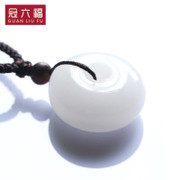 Xinjiang Kunlun crown Fook sub jade buckle natural white jade necklace pendant and a couple of Yudiao falling transport