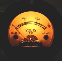 Rond Noir pointeur rétro cadran conception ac300v voltmètre jaune rétro-éclairé