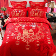 Cotton wedding four piece bedding Cotton wedding cartoon 1.8m thick sanding red dragon quilt