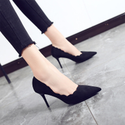 Autumn Korean female fine with high heels with all-match sexy black shoes shoes 2017 summer new occupation