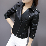 2017 spring and autumn new Pu motorcycle leather lady short jacket all-match Korean Slim small leather jacket tide