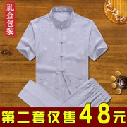 The wind in summer Chinese father elderly Chinese elderly male costume summer cotton short sleeved suit with Grandpa summer