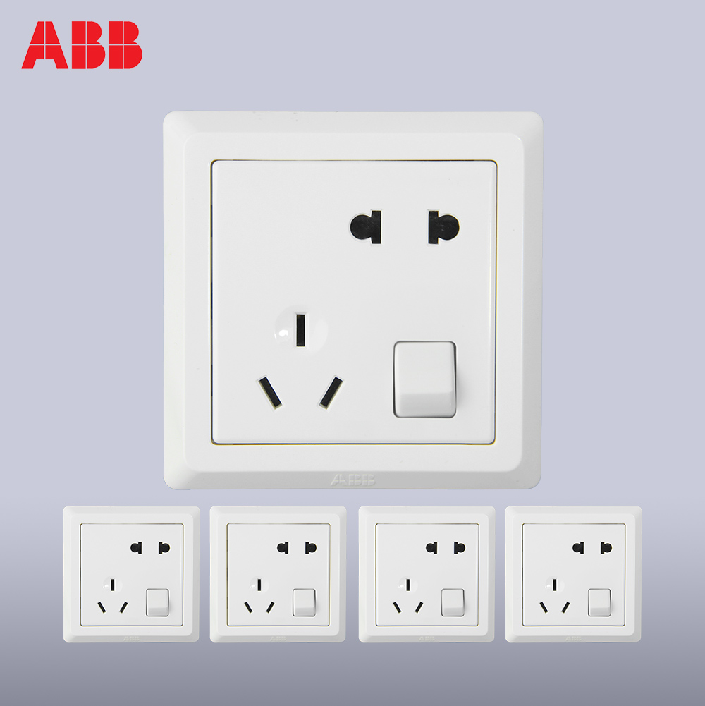 Abb switch socket switch panel Deyi white one open five holes 5 Pack discount package