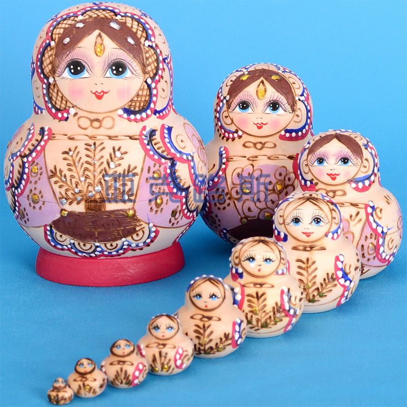 (YAKELUS) Jacques Authentic Basswood Original Genuine Gift Russian Matryoshka 10th Floor 1075