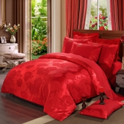 Full cotton jacquard satin wedding celebration red four piece bedding wedding room couple 1.8m four Suite