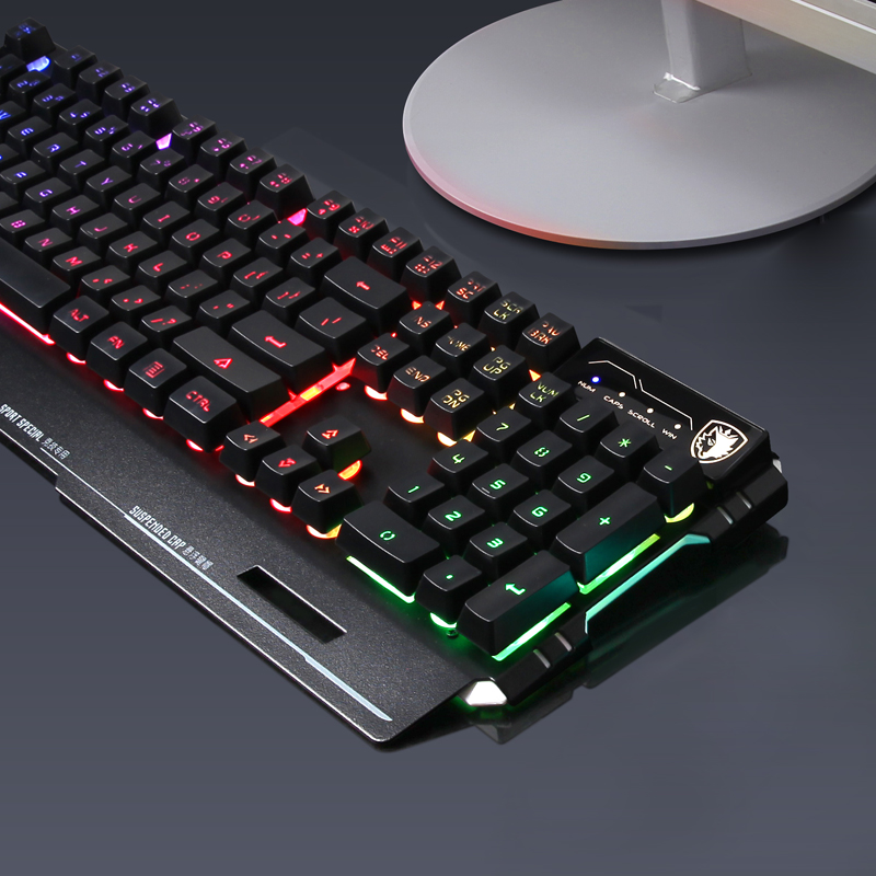 Sides blade backlit gaming keyboard robot feel usb wired computer desktop notebook keyboard lol