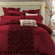 Show four sets of mercury textile European wedding wedding four piece American cotton Bordeaux 1.8m/2.0 m bed