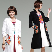 The new spring and summer 2017 Folk Style Embroidered Cotton cardigan coat covered comfort women