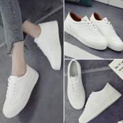 Summer all-match white lace up shoes shoes' Korean white canvas shoes soled shoes flat casual shoes