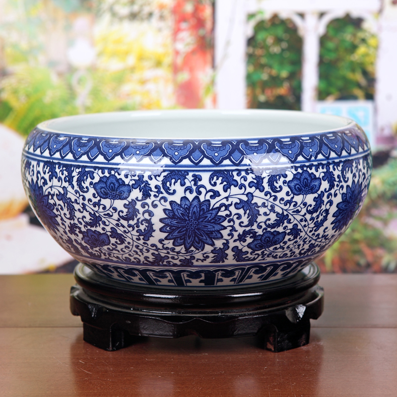 Jingdezhen Ceramics Blue and White Porcelain Shallow Water Large Golden Fish Tank Turtle Tank Water Lily Narcissus Green Raw Flower Pot