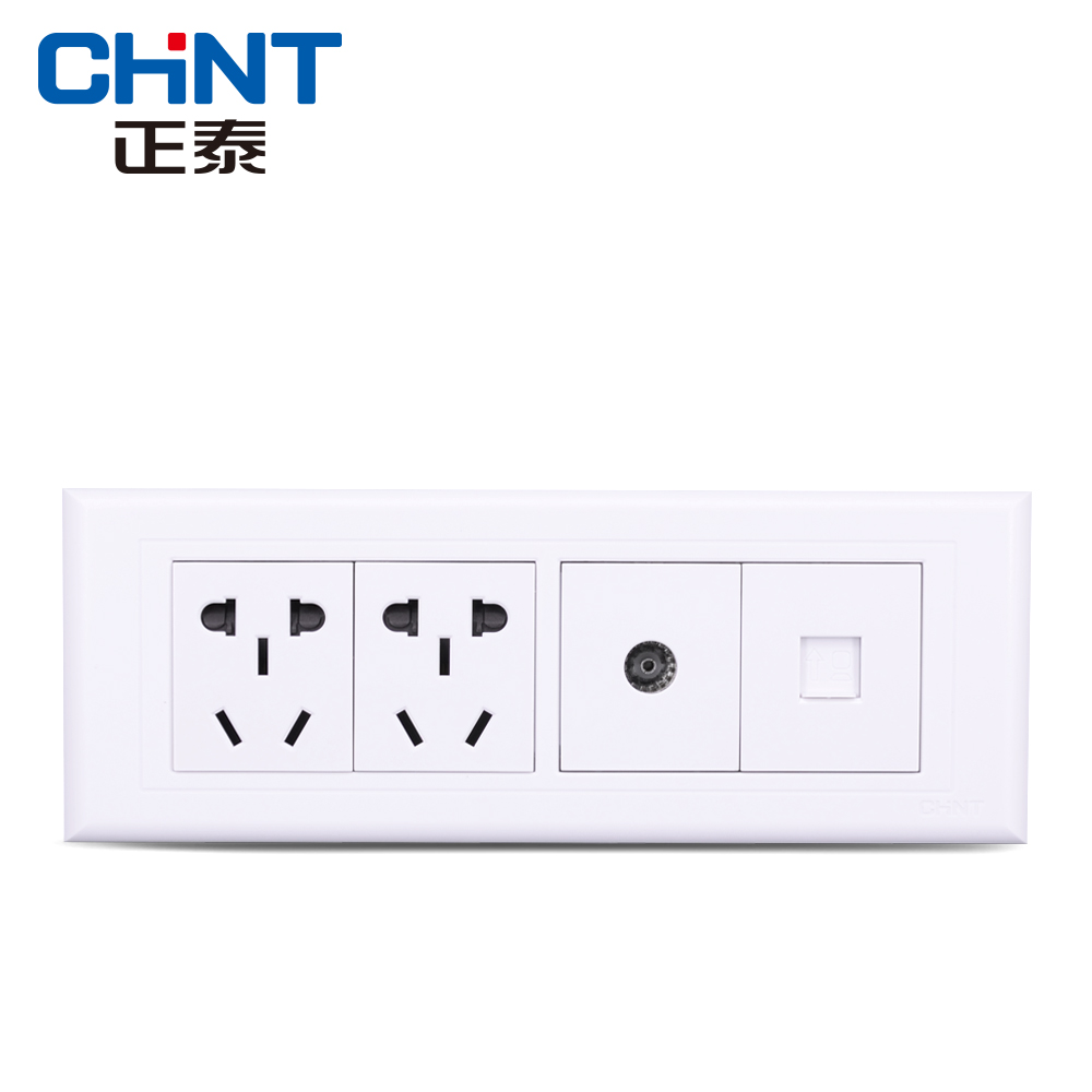 Zhengtai Electrical 118 Switch Socket NEW5G Four-bit Two-socket TV Computer White Small Five-hole