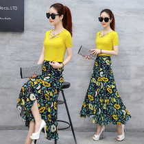 Dress girls summer 2017 new disposition and South Korea Edition slim slimming skirt student floral dress Beach dress