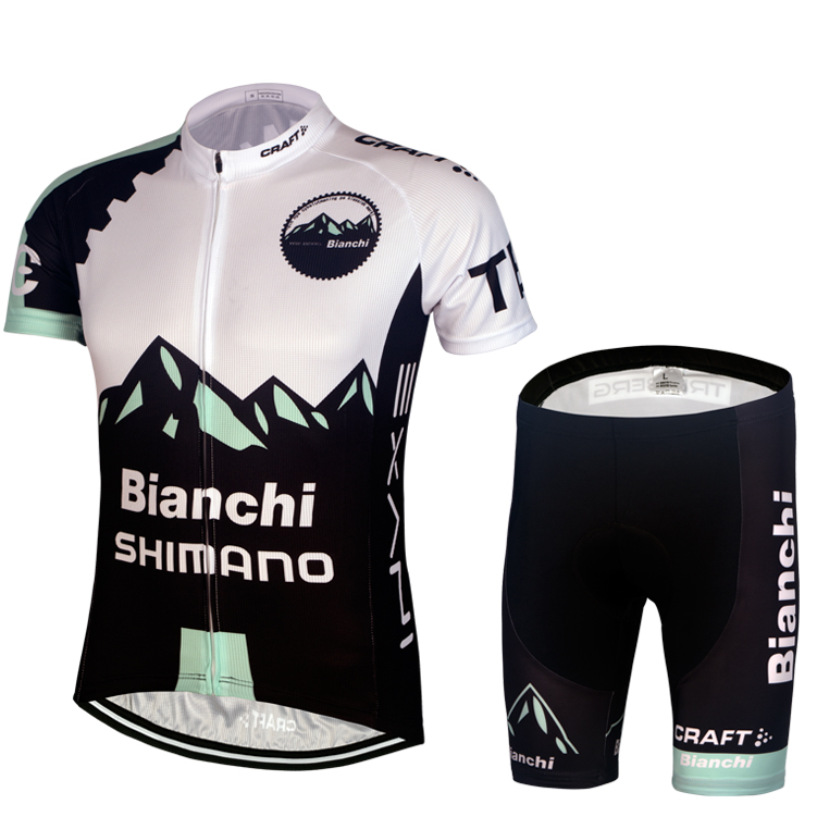 Special package: 15 Bianchi black and white cycling suit, short sleeve suit, men's summer team edition, bicycle clothing