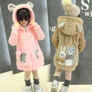 5 girls leather grass hair sweater coat 2016 winter new child 7 cartoon Plush coat 11 thickening