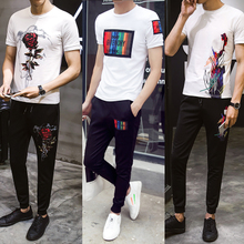 Summer men sport suit summer T-shirt handsome clothes red net quickly a young all-match trousers