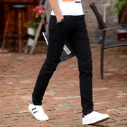 Summer men's casual pants, men's elastic Korean version, slim feet pants, men's pants, teenagers, thin long pants, men's trend