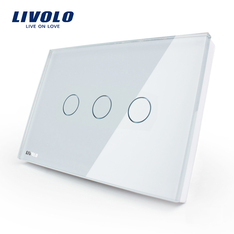 [The goods stop production and no stock]Livolo switch 118 touch switch smart home products / rectangle C8 white touch single control three open