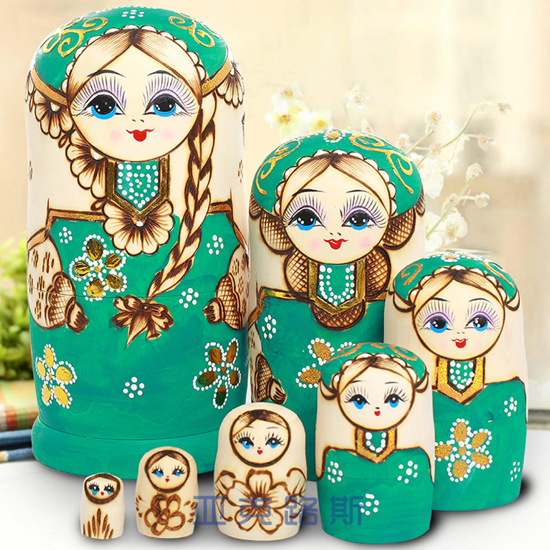 (YAKELUS) Jacques Authentic Beech Original Genuine Gift Russian Matryoshka 7 Layer 0718