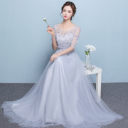 2017 new summer party dress long grey bridesmaid dresses slim slim dress elegant female party