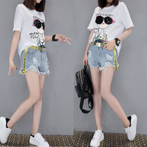 Fat sister summer dress XL womens new fashion print short sleeve t shirt jeans shorts suit two piece set