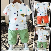4 children 5 boys summer summer suit 2017 new 6 cotton short sleeved T-shirt 7 8-9 11 year old male baby boom