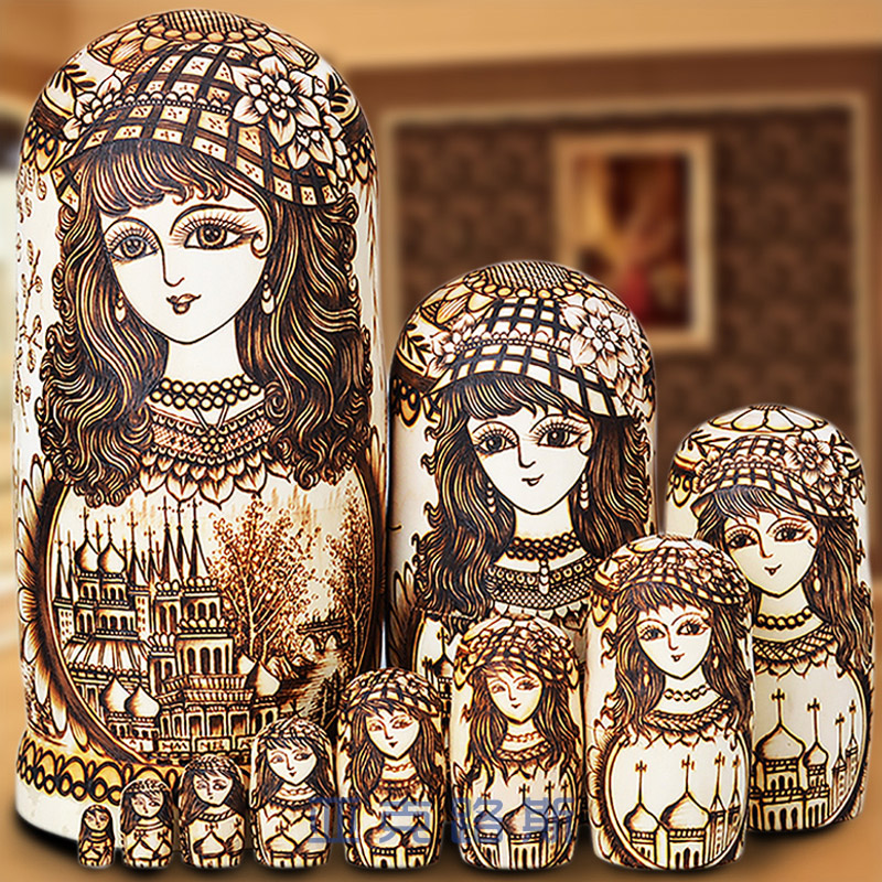 (YAKELUS) Yaklusi Authentic Basswood original genuine gifts Russian Matryoshka 10 layers 1063
