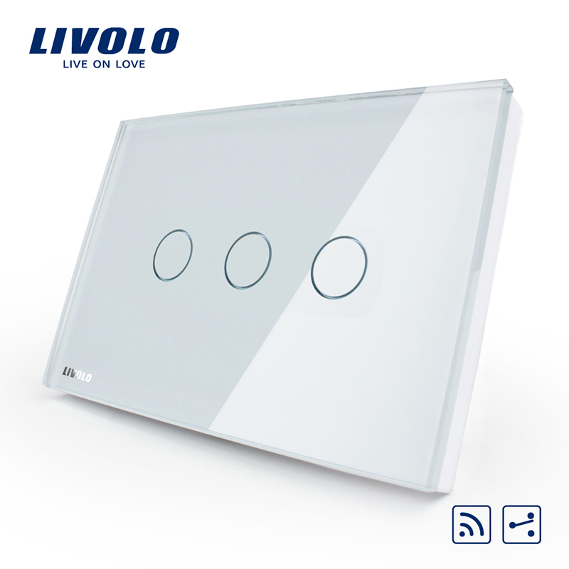 [The goods stop production and no stock]Livolo switch 118 touch switch smart home products / rectangular C8 white remote control dual control three open